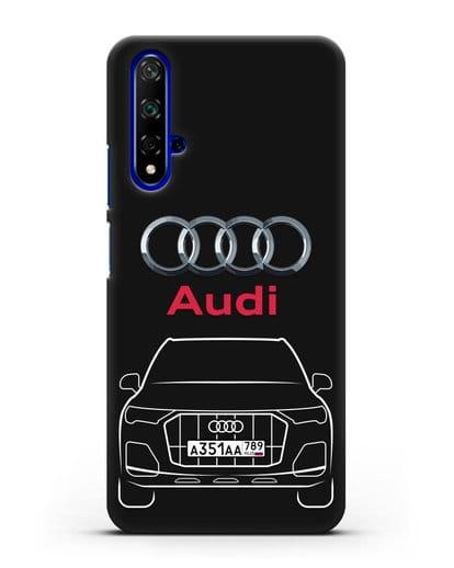 Чехол Audi Q7 с номерным знаком силикон черный для Honor 20