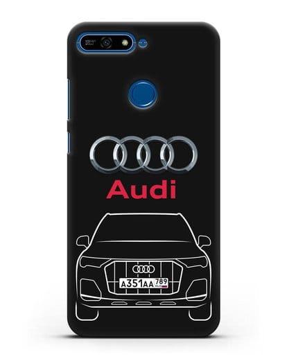 Чехол Audi Q7 с номерным знаком силикон черный для Honor 7А Pro