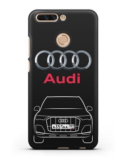 Чехол Audi Q7 с номерным знаком силикон черный для Honor 8 Pro