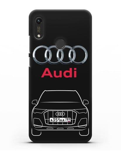 Чехол Audi Q7 с номерным знаком силикон черный для Honor 8A Prime