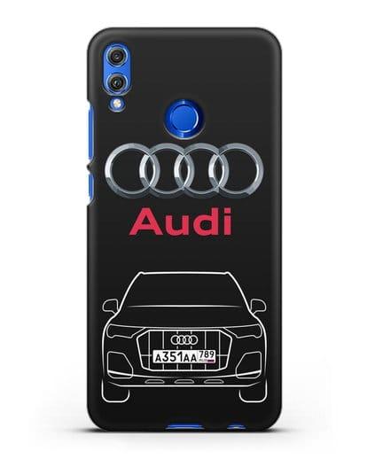 Чехол Audi Q7 с номерным знаком силикон черный для Honor 8X