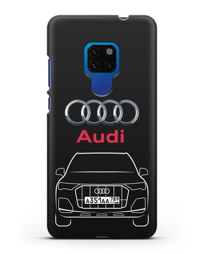 Чехол Audi Q7 с номерным знаком силикон черный для Huawei Mate 20