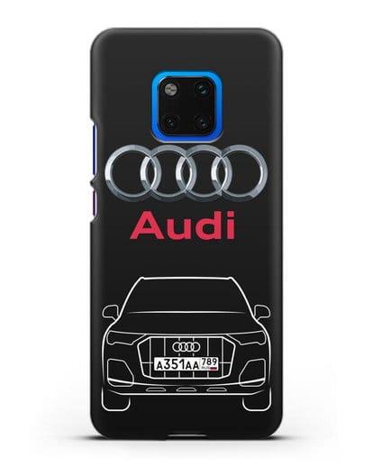 Чехол Audi Q7 с номерным знаком силикон черный для Huawei Mate 20 Pro