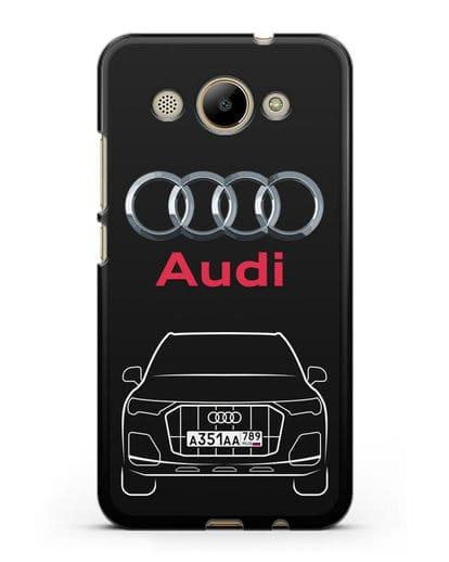 Чехол Audi Q7 с номерным знаком силикон черный для Huawei Y3 2017