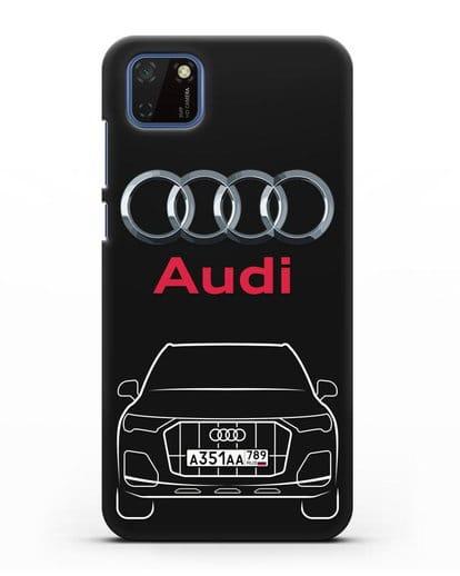 Чехол Audi Q7 с номерным знаком силикон черный для Huawei Y5P