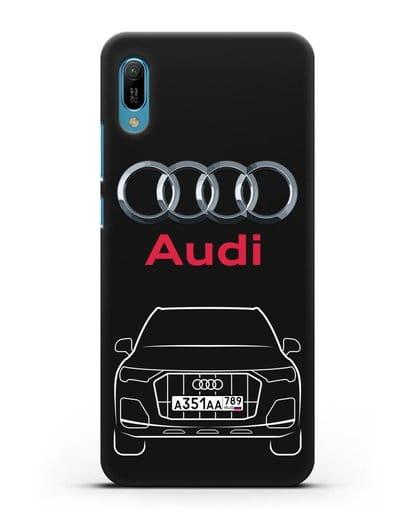 Чехол Audi Q7 с номерным знаком силикон черный для Huawei Y6 2019