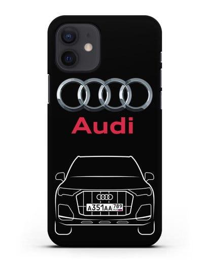 Чехол Audi Q7 с номерным знаком силикон черный для iPhone 12