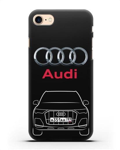 Чехол Audi Q7 с номерным знаком силикон черный для iPhone 8