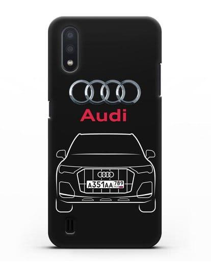 Чехол Audi Q7 с номерным знаком силикон черный для Samsung Galaxy A01 [SM-A015F]