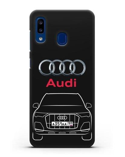 Чехол Audi Q7 с номерным знаком силикон черный для Samsung Galaxy A20 [SM-A205FN]