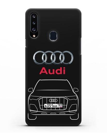 Чехол Audi Q7 с номерным знаком силикон черный для Samsung Galaxy A20s [SM-A207FN]