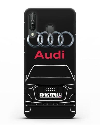 Чехол Audi Q7 с номерным знаком силикон черный для Samsung Galaxy A40s [SM-A507FN]