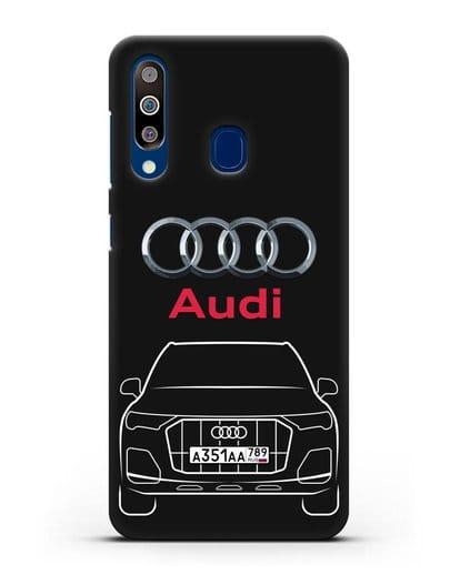 Чехол Audi Q7 с номерным знаком силикон черный для Samsung Galaxy A60 [SM-A606F]