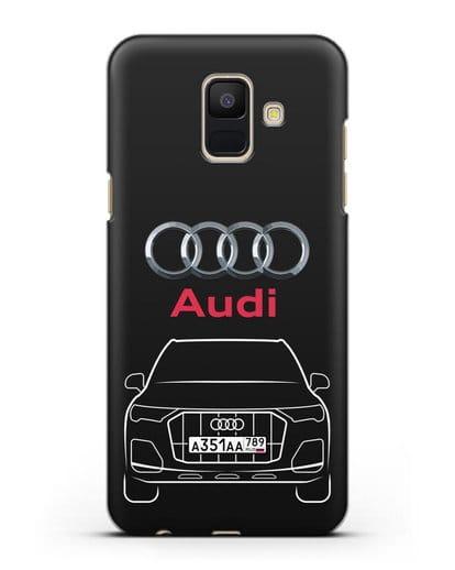 Чехол Audi Q7 с номерным знаком силикон черный для Samsung Galaxy A6 2018 [SM-A600F]