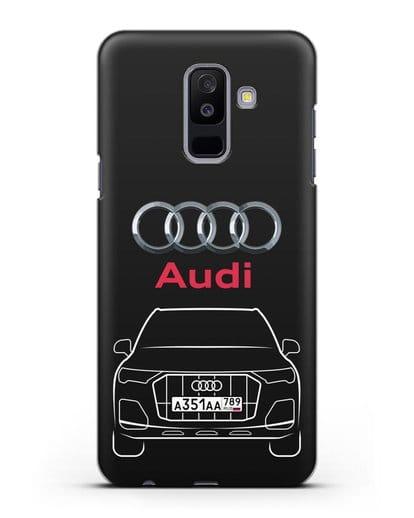 Чехол Audi Q7 с номерным знаком силикон черный для Samsung Galaxy A6 Plus 2018 [SM-A605F]
