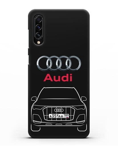 Чехол Audi Q7 с номерным знаком силикон черный для Samsung Galaxy A70s [SM-A707F]