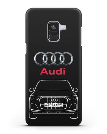 Чехол Audi Q7 с номерным знаком силикон черный для Samsung Galaxy A8 Plus [SM-A730F]