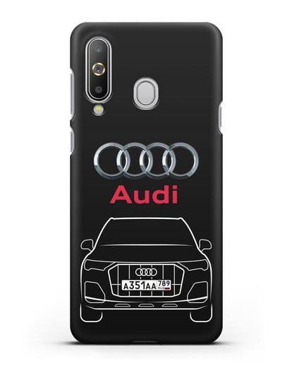 Чехол Audi Q7 с номерным знаком силикон черный для Samsung Galaxy A8s [SM-G8870]