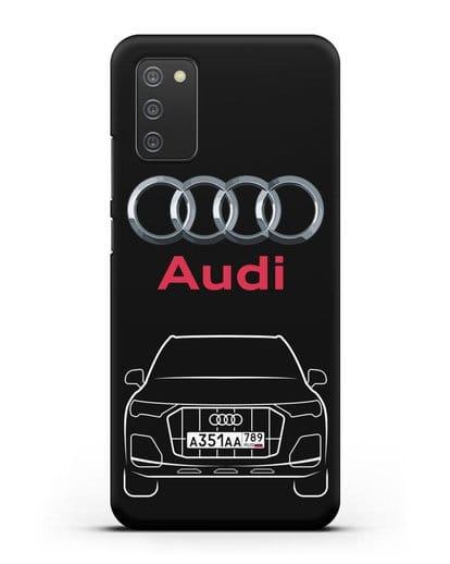 Чехол Audi Q7 с номерным знаком силикон черный для Samsung Galaxy A02s [SM-A025F]