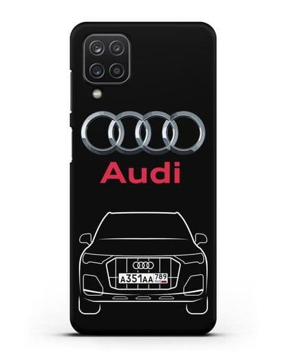 Чехол Audi Q7 с номерным знаком силикон черный для Samsung Galaxy A12 [SM-A125F]