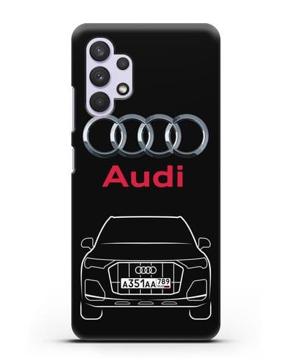 Чехол Audi Q7 с номерным знаком силикон черный для Samsung Galaxy A32 5G [SM-A326B]