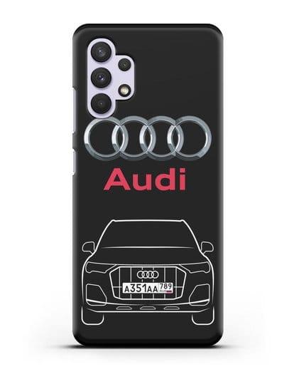 Чехол Audi Q7 с номерным знаком силикон черный для Samsung Galaxy A32 4G [SM-A325F]