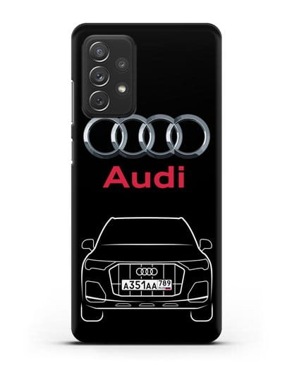 Чехол Audi Q7 с номерным знаком силикон черный для Samsung Galaxy A72 [SM-A725F]