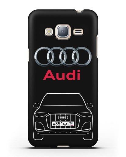 Чехол Audi Q7 с номерным знаком силикон черный для Samsung Galaxy J3 2016 [SM-J320F]