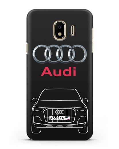 Чехол Audi Q7 с номерным знаком силикон черный для Samsung Galaxy J4 2018 [SM-J400F]