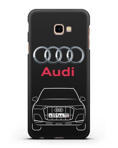 Чехол Audi Q7 с номерным знаком силикон черный для Samsung Galaxy J4 Plus [SM-J415]