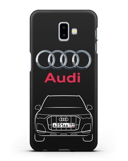 Чехол Audi Q7 с номерным знаком силикон черный для Samsung Galaxy J6 Plus [SM-J610F]