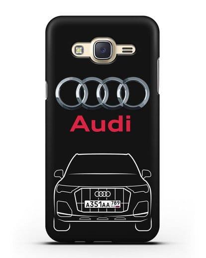 Чехол Audi Q7 с номерным знаком силикон черный для Samsung Galaxy J7 2015 [SM-J700H]