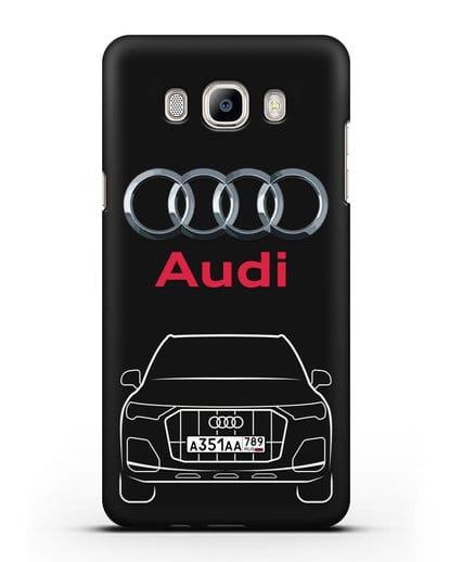Чехол Audi Q7 с номерным знаком силикон черный для Samsung Galaxy J7 2016 [SM-J710F]