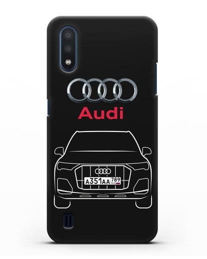 Чехол Audi Q7 с номерным знаком силикон черный для Samsung Galaxy M01 [SM-M015F]