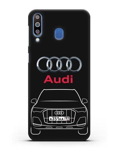 Чехол Audi Q7 с номерным знаком силикон черный для Samsung Galaxy M30 [SM-M305F]