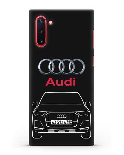 Чехол Audi Q7 с номерным знаком силикон черный для Samsung Galaxy Note 10 [N970F]