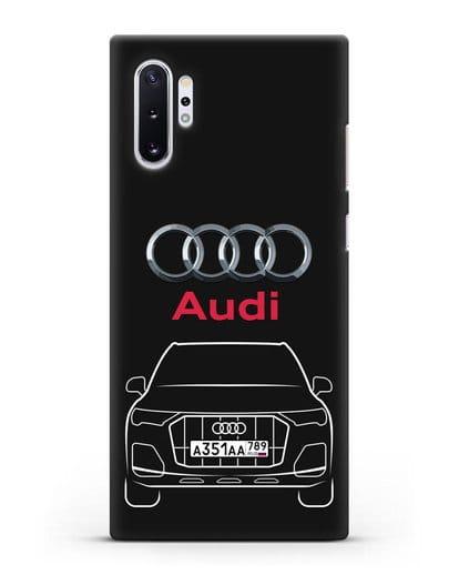 Чехол Audi Q7 с номерным знаком силикон черный для Samsung Galaxy Note 10 Plus [N975F]