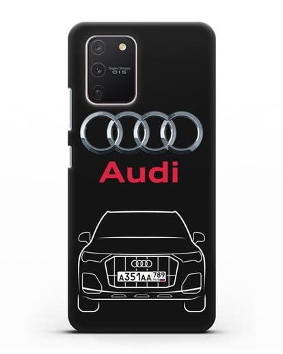 Чехол Audi Q7 с номерным знаком силикон черный для Samsung Galaxy S10 lite [SM-G770F]