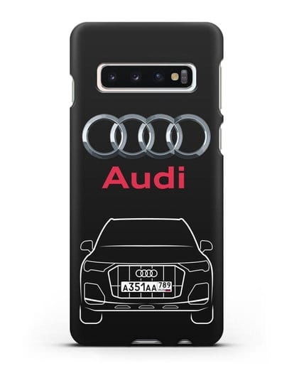 Чехол Audi Q7 с номерным знаком силикон черный для Samsung Galaxy S10 [SM-G973F]