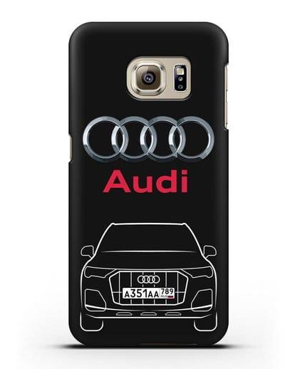 Чехол Audi Q7 с номерным знаком силикон черный для Samsung Galaxy S6 Edge [SM-G925F]