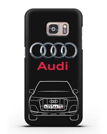 Чехол Audi Q7 с номерным знаком силикон черный для Samsung Galaxy S7 [SM-G930F]