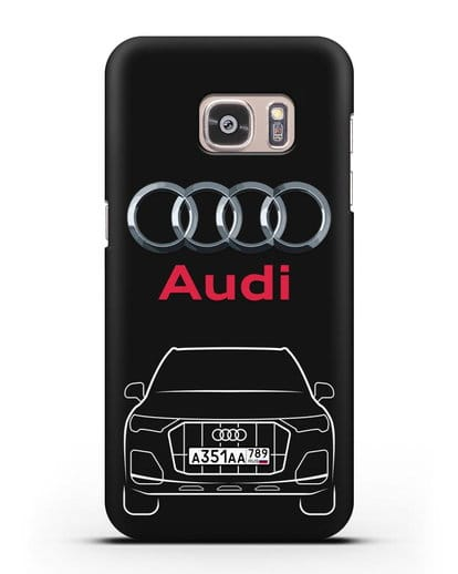 Чехол Audi Q7 с номерным знаком силикон черный для Samsung Galaxy S7 Edge [SM-G935F]