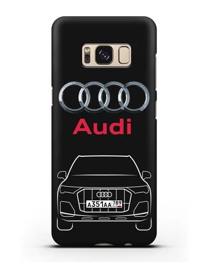 Чехол Audi Q7 с номерным знаком силикон черный для Samsung Galaxy S8 Plus [SM-G955F]