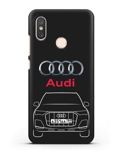 Чехол Audi Q7 с номерным знаком силикон черный для Xiaomi Mi 8
