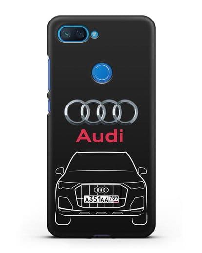 Чехол Audi Q7 с номерным знаком силикон черный для Xiaomi Mi 8 Lite