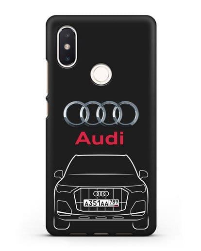 Чехол Audi Q7 с номерным знаком силикон черный для Xiaomi Mi 8 SE