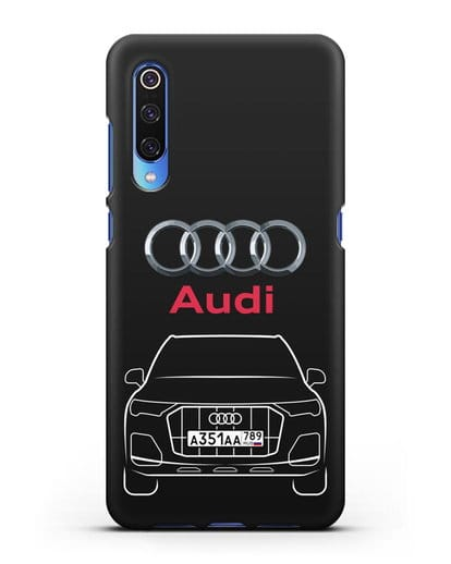Чехол Audi Q7 с номерным знаком силикон черный для Xiaomi Mi 9