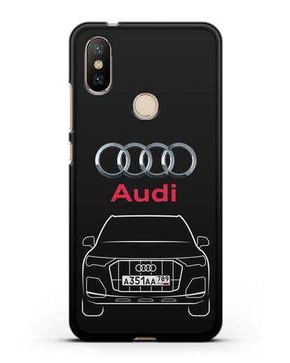 Чехол Audi Q7 с номерным знаком силикон черный для Xiaomi Mi A2