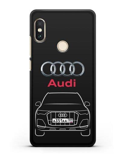 Чехол Audi Q7 с номерным знаком силикон черный для Xiaomi Mi A2 Lite