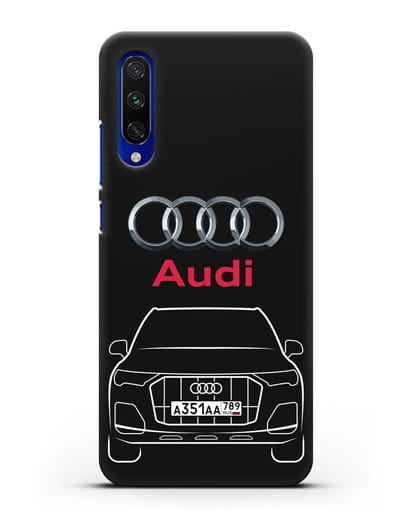 Чехол Audi Q7 с номерным знаком силикон черный для Xiaomi Mi CC9 E